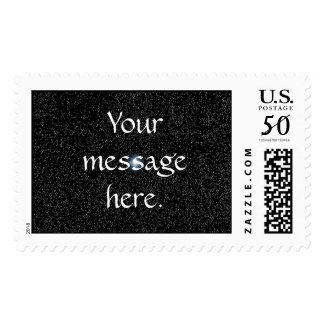 Your message, Silver Stars on Black Postage Stamps