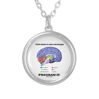 Your Mind Is Like Software Program It (Brain) Round Pendant Necklace