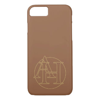 """Your monogram """"A&H"""" on """"iced coffee"""" background iPhone 7 Case"""