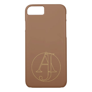 """Your monogram """"A&J"""" on """"iced coffee"""" background iPhone 7 Case"""