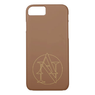 """Your monogram """"A&N"""" on """"iced coffee"""" background iPhone 7 Case"""