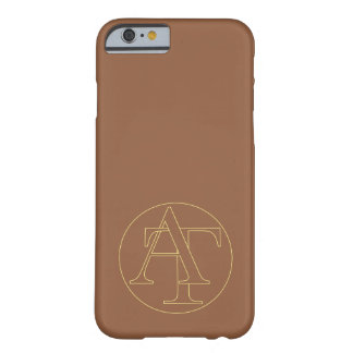 """Your monogram """"A&T"""" on """"iced coffee"""" background Barely There iPhone 6 Case"""