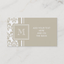 Your Monogram, Beige Damask Pattern 2 Business Card