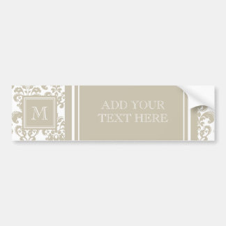 Your Monogram, Beige Damask Pattern 2 Car Bumper Sticker