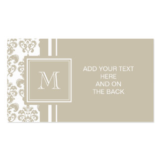 Your Monogram, Beige Damask Pattern 2 Double-Sided Standard Business Cards (Pack Of 100)