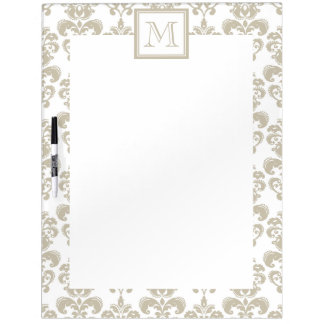 Your Monogram, Beige Damask Pattern 2 Dry Erase Board