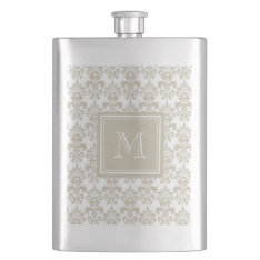Your Monogram, Beige Damask Pattern 2 Flask at Zazzle