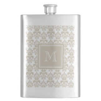 Your Monogram, Beige Damask Pattern 2 Flask