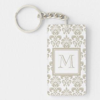Your Monogram, Beige Damask Pattern 2 Acrylic Keychains