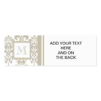 Your Monogram, Beige Damask Pattern 2 Mini Business Card