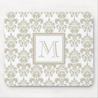 Your Monogram, Beige Damask Pattern 2 Mouse Pad