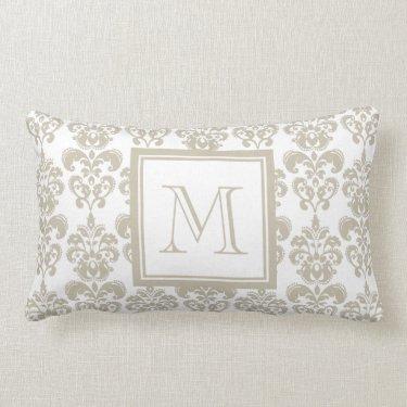 Your Monogram, Beige Damask Pattern 2 Throw Pillows