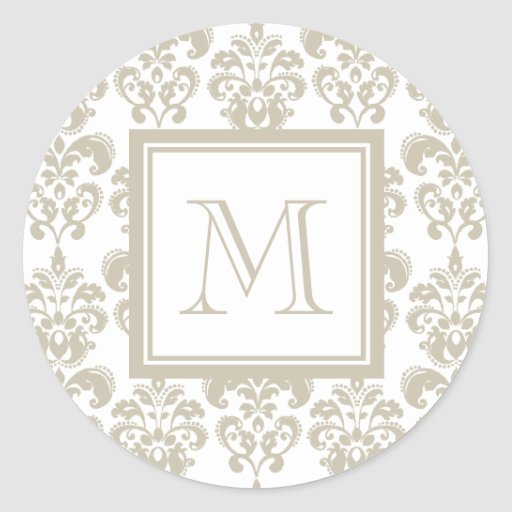 Your Monogram, Beige Damask Pattern 2 Stickers