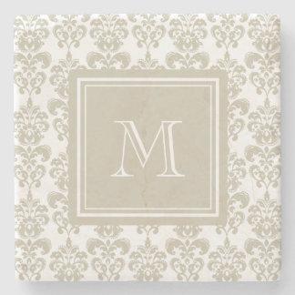 Your Monogram, Beige Damask Pattern 2 Stone Coaster