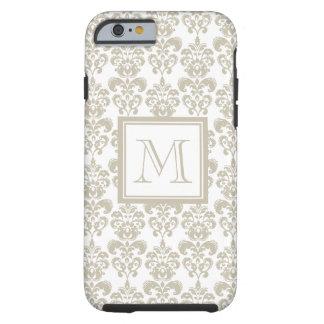 Your Monogram, Beige Damask Pattern 2 Tough iPhone 6 Case