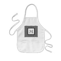YOUR MONOGRAM, BLACK CHEVRON KIDS' APRON