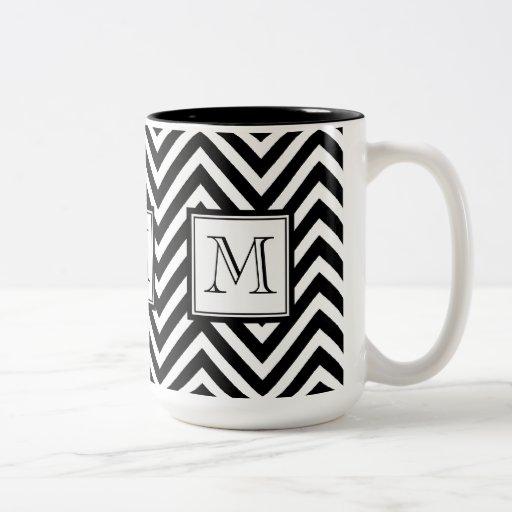 YOUR MONOGRAM, BLACK CHEVRON COFFEE MUGS
