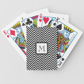 YOUR MONOGRAM, BLACK CHEVRON BICYCLE PLAYING CARDS