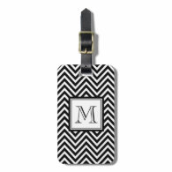 YOUR MONOGRAM, BLACK CHEVRON TAGS FOR LUGGAGE