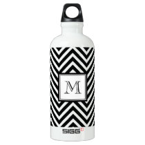YOUR MONOGRAM, BLACK CHEVRON WATER BOTTLE