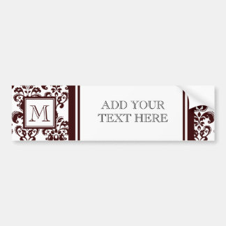 Your Monogram Brown Damask Pattern 2 Bumper Stickers
