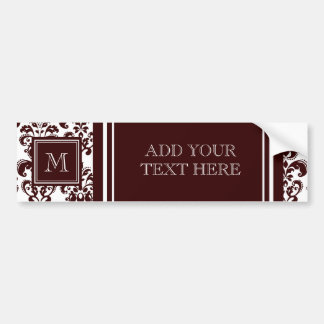Your Monogram, Brown Damask Pattern 2 Bumper Sticker