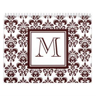 Your Monogram, Brown Damask Pattern 2 Calendars