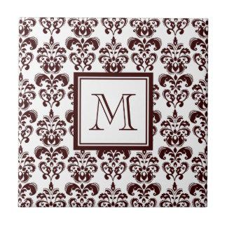 Your Monogram, Brown Damask Pattern 2 Ceramic Tile