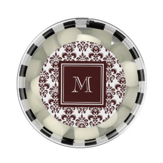 Your Monogram, Brown Damask Pattern 2 Chewing Gum Favors