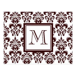 Your Monogram, Brown Damask Pattern 2 Postcard