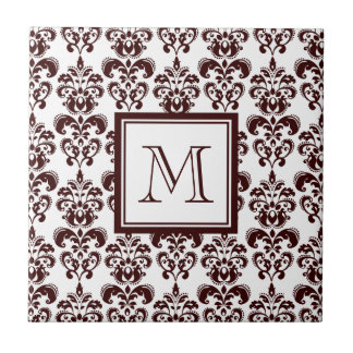 Your Monogram, Brown Damask Pattern 2 Tiles