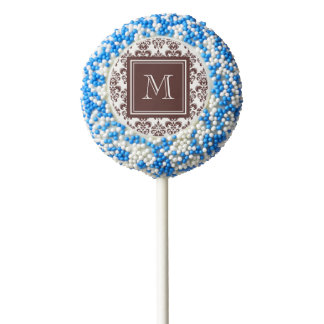 Your Monogram, Brown Damask Pattern 2 Chocolate Covered Oreo Pop