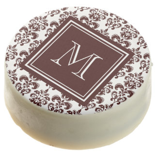 Your Monogram, Brown Damask Pattern 2 Chocolate Covered Oreo