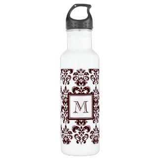 Your Monogram, Brown Damask Pattern 2 Water Bottle