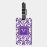 Your Monogram, Dark Purple Damask Pattern 2 Bag Tag