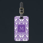 """Your Monogram, Dark Purple Damask Pattern 2 Bag Tag<br><div class=""""desc"""">Beautiful shade of dark purple and white vintage damask pattern is a perfect gift for her. Personalize with your monogram, or your initial, or your letter or your name. Use the template field or select """"customize it"""" for more editing options to make your own, unique, one of a kind design....</div>"""