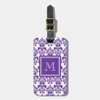Your Monogram, Dark Purple Damask Pattern 2 Bag Tag
