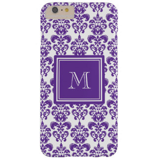 Your Monogram, Dark Purple Damask Pattern 2 Barely There iPhone 6 Plus Case