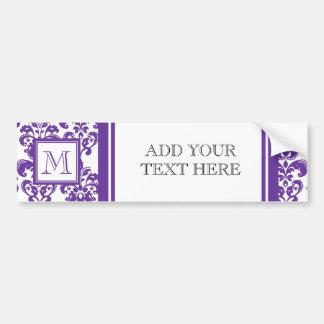 Your Monogram, Dark Purple Damask Pattern 2 Car Bumper Sticker