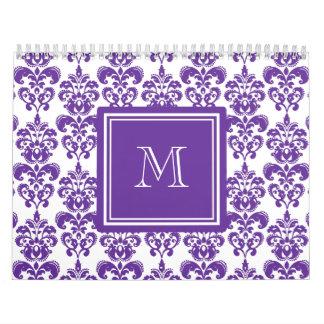 Your Monogram, Dark Purple Damask Pattern 2 Wall Calendar