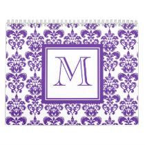 Your Monogram, Dark Purple Damask Pattern 2 Calendar