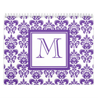 Your Monogram, Dark Purple Damask Pattern 2 Calendar