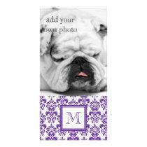 Your Monogram, Dark Purple Damask Pattern 2 Card