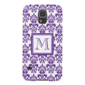 Your Monogram, Dark Purple Damask Pattern 2 Galaxy S5 Cases