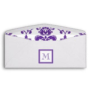Your Monogram, Dark Purple Damask Pattern 2 Envelope