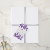 Your Monogram, Dark Purple Damask Pattern 2 Gift Tags