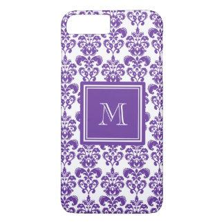 Your Monogram, Dark Purple Damask Pattern 2 iPhone 7 Plus Case