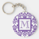Your Monogram, Dark Purple Damask Pattern 2 Keychain