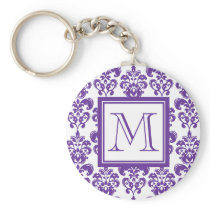 Your Monogram, Dark Purple Damask Pattern 2 Keychain