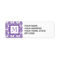 Your Monogram, Dark Purple Damask Pattern 2 Label
